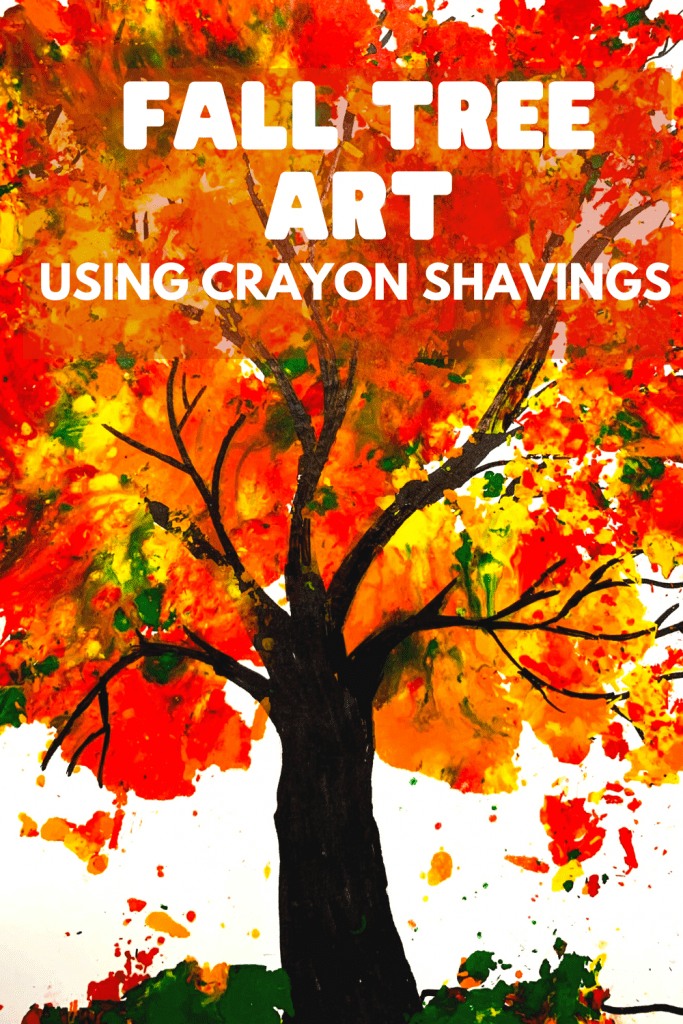 fall tree using melted crayon shavings