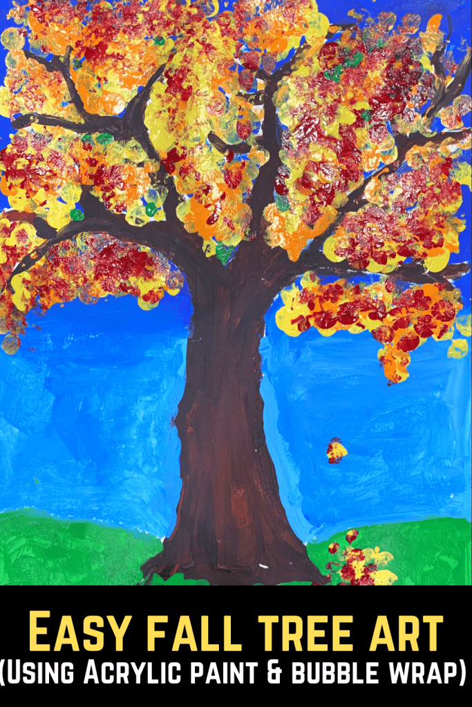 fall tree craft using acrylic paint and bubble wrap